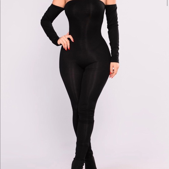 "8f34b2e57f7 Off the shoulder jumpsuit ""FASHION NOVA CURVE"""